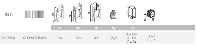 dimensions echafaudage combi5