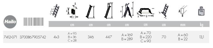 dimensions échelle multifonctions + plateforme