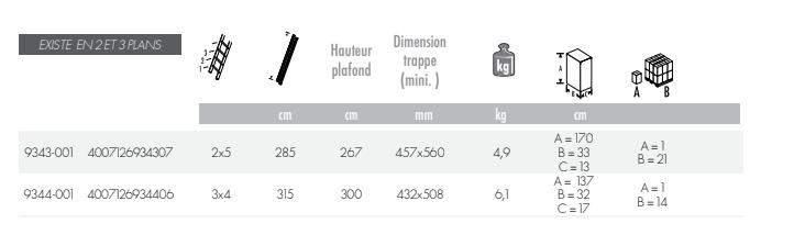 dimensions échelle escamotable hobbystep